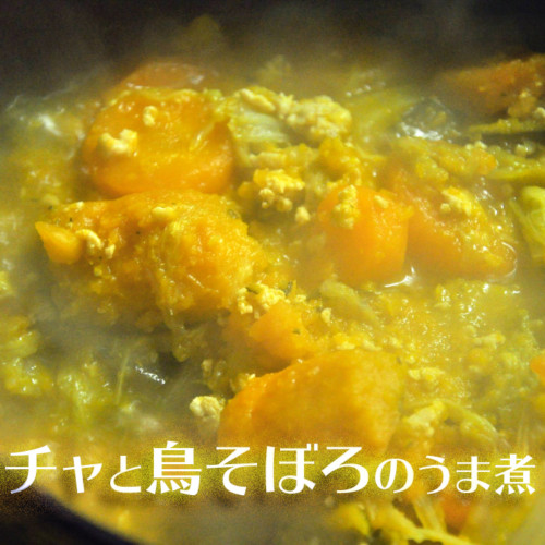 Boiled chicken and ground pumpkin