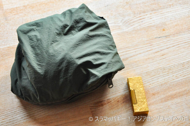 Seasonal minimum style, Gramicci packable T-shirt, size, folding, coordination example