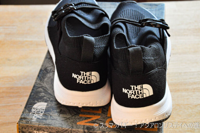 With bare feet or socks. North Face Ultra Low 3 Racer, size, ease of walking, coordination example